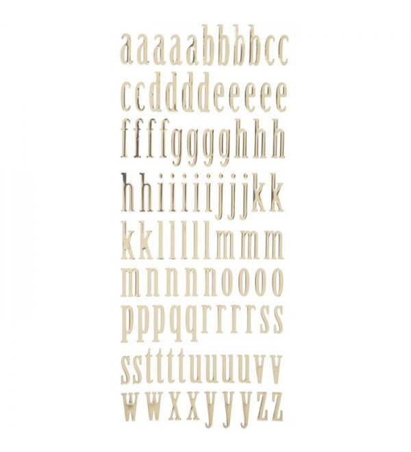Gold Lowercase Alph et Stickers